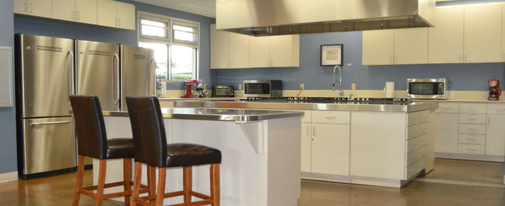 Kitchen and bar space at the Ronald McDonald House