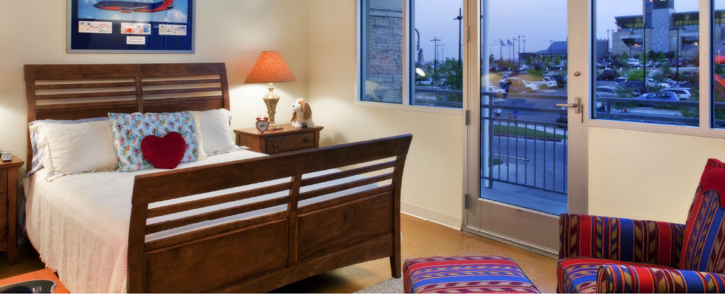 Ronald McDonald House bedroom during night time