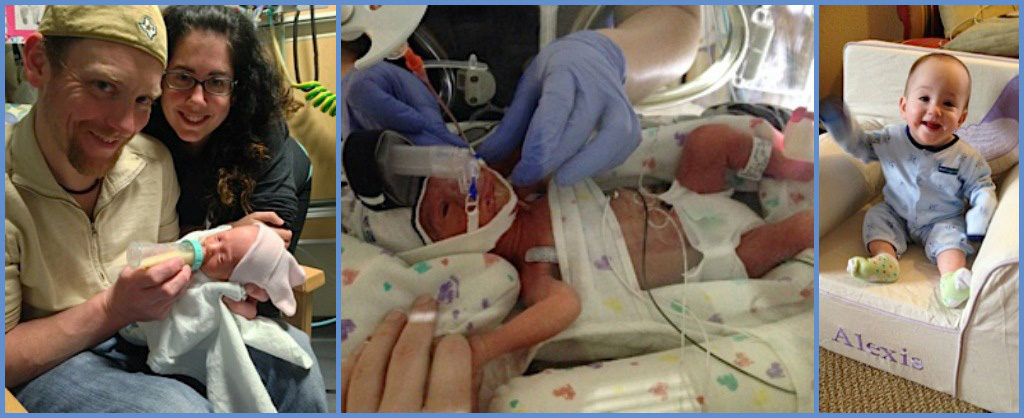 Collage of three photos: Mom and Dad holding loving holding their baby who is drinking out of a bottle, Baby in NICU hospital bed attached to wires and looking incredibly small, and finally the same baby older, healthier and smiling while sitting up on his own.