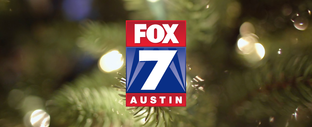 Fox 7 Logo over a backdrop of white Christmas lights
