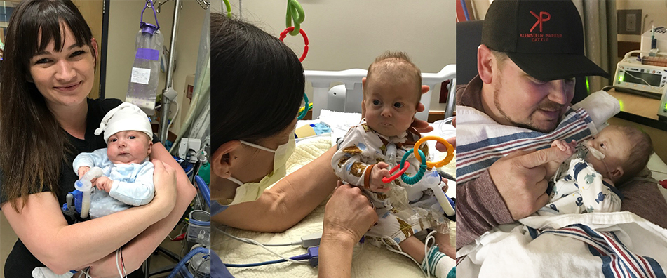 three photos of Krsystal Smith holding baby Gus, Baby Gus in the hospital, then dad and baby Gus in the hospital.