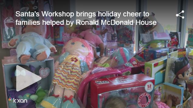 Santa's Workshop full of toys for Ronald McDonald House Families