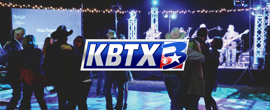 KBTX Logo over a people dancing at Starlight Affair