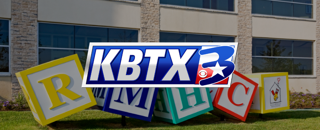 KBTX Logo over an image of the Ronald McDonald House blocks statue