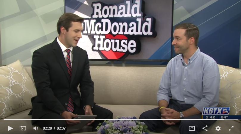 Video still of Tanner Williams from RMHC CTX discussing Radiothon with a KBTX news anchor on two couches