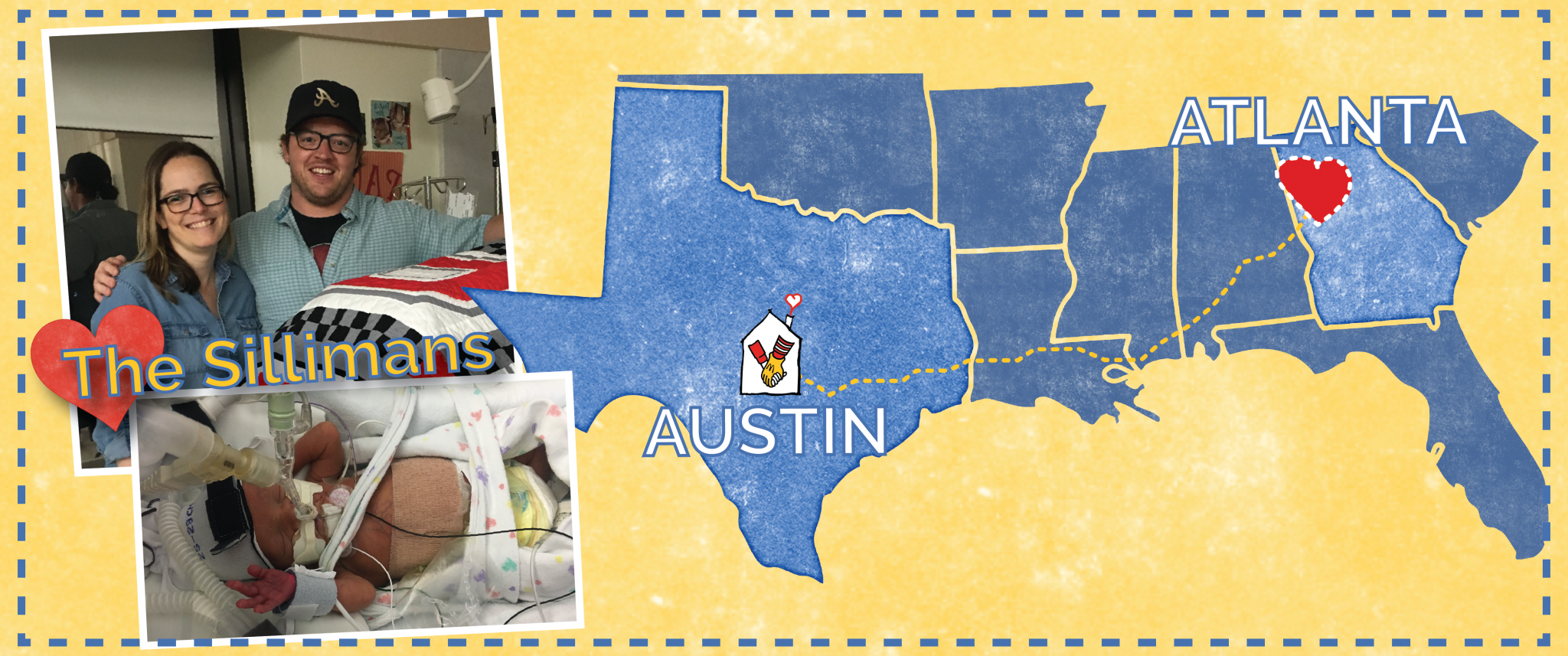 the Sillman family and their newborn son and a map displaying the RMHC CTX location and Atlanta, GA where the SIllmans are from