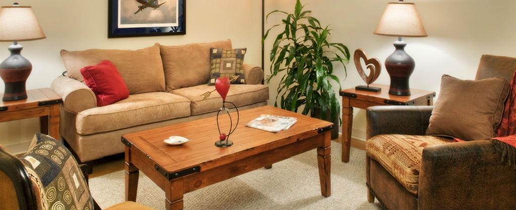 living room furniture in a comfortable seating arrangement ready for a family's stay